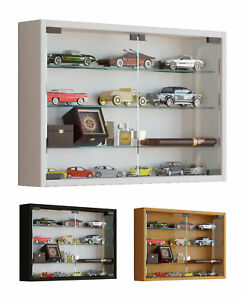 Glass Display Cabinet Wall Mounted Wide Medium Toys Vapes Various Colours
