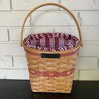 Longaberger 1998 GLAD TIDINGS BASKET w/ PROTECTOR & LINER Christmas Collection