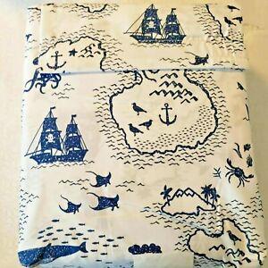 NWT Pillowfort Castaway Cove Treasure Island Pirate Sheet Set Blue White Full E