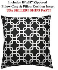 "18x18 18"" BLACK WHITE CHAINLINK Harlequin Zippered Throw Pillow Cushion Gotcha"