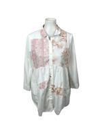 Maeve Anthropologie Womens Size M White Floral Patchwork Tunic Button Down Shirt