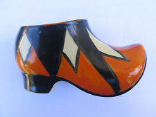 BIZARRE by CLARICE CLIFF PYRAMIDS DIAMONDS PATTERN SABOT CLOG OVER PAINTED c1930