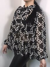 Pussy Bow Blouse Tie Neck Puff Sleeve Oversized Swing Style Black Soft Feel NEW