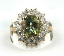 Oval Green Beryl & Diamond Halo Solitaire Ring 14k White Gold 4.36Ct
