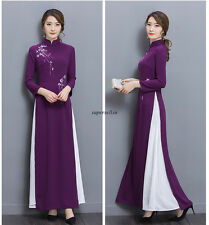 Elegant Women Cheongsam Long Sleeve Prom Evening Party Cocktail Slim Maxi Dress