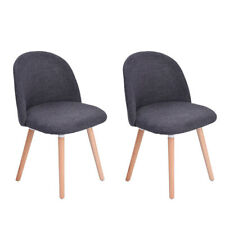 Set of 2 Dining Chair Upholstered Curved Back Side Chair with Solid Wooden Legs