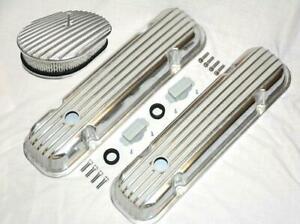 "Pontiac Nostalgic Polished Aluminum Finned Valve Covers & 12"" x 2"" Air Cleaner"