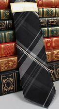 New Michael Kors Mens Silk Neck Tie Black Silver Gold Plaid T343
