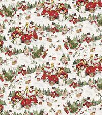 Christmas Fabric - Susan Winget Snowman Red Pickup Truck Scenic - Springs YARD