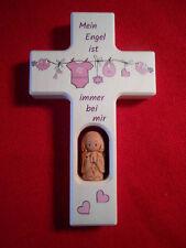 Kinderkreuz m.Schutzengel-Tonengel Taufkreuz Taufe Geburt Holzkreuz für Mädchen