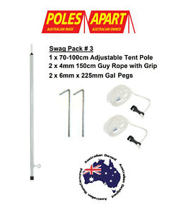 Swag Awning Pole Set 1x Adjustable 100cm Tent Pole, 2x Guy Ropes + 2x Tent Pegs