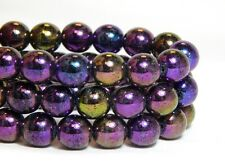 25 8mm Iris Purple AB Round Beads High Quality Czech Iridescent Glass T-20A
