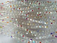 Joblot 10 Strings (1200 Beads) 4mm White Clear Full AB Bicone Crystal Beads