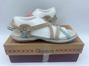 Womens Skechers Reggae Slim Vacay Summer Strappy Sandals Beige Ladies