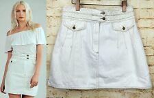 Free People Braided Baby Skirt Mini A-Line White Denim Retro Mod Women Sz 10 $78