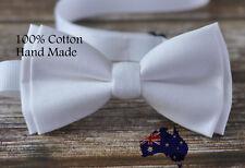 Men Women 100% Cotton Matte White Solid Craft Bow Tie Bowtie Wedding Party