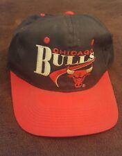 Vintage 1990s Chicago Bulls Snapback Hat MJ Black & Red Throwback Retro