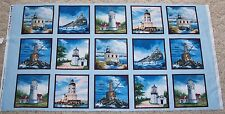 West Coast Lighthouses Quilt panel Fabric Cotton Blocks Elizabeth Studio