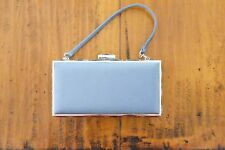 Judith Leiber Light Blue Satin Evening Bag with Jewels around Top and Sides