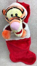 "Disney Tigger Christmas Stocking 18"" Plush Head Paws Red Santa Claus Hat"