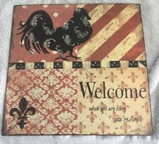 "12"" X 12"" Metal Welcome Sign Plaque With Chicken"