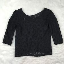 H&M Black Crochet Lace 3/4 Sleeve Peasant Tunic Top Size XS Boho Gypsy