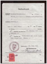 Sterbeurkunde Standesamt Hamburg-Barmbek-Uhlenhorst 1969 Gebührenmarke