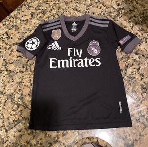 Adidas Youth Soccer Jersey Size 7 Youth (xl) Madrid Fly Emirates EUC