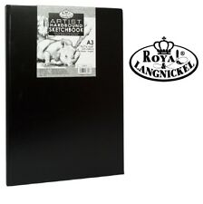 A3 Royal & Langnickel Sketchbook Case Bound Black Hardback Sketch Pad 90gsm