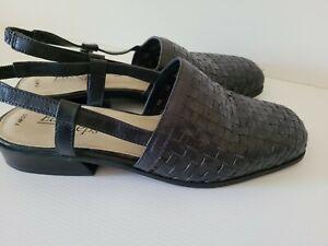 EASY STEPS Fargo Ladies Slingback Dark Grey Lattice Weave Leather SHOE 7.5C VGC