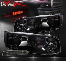 94-01 Ram Truck Replacement Head Lights Lh Rh Smoke + 3rd Tail Lamp +Turn Corner