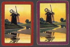 Swap Playing Cards 2 WIDE  VINT GENUINE  ENG  DUTCH  SCENE & WINDMILLS EW146