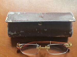 Vintage rare Cartier Paris 140 Gold Holz Seihe Brille Seeing Glass Original etui
