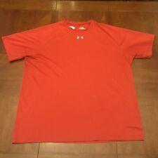 Under Armour Heat Gear Men's Shirt Xl Red Training Running Exercise Ss Sports