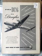 1947 Douglas Aircraft Airplane Ad If its a DC-6 it's a Douglas Evening Post NICE