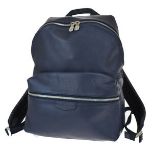 Auth LOUIS VUITTON Discovery Backpack bag Tiaga Leather Blue M33451 631BS305