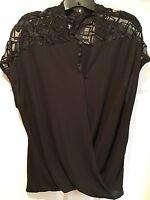 NWT Ro & De Dressy SS Top Shirt, Black, Size M