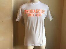 DSQUARED² CLASSIC CRISP WHITE NEON ORANGE SIGNATURE LOGO PRINT T SHIRT S L 1964