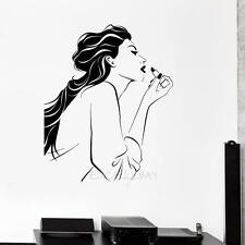 Wall Decor Vinyl Sticker Decal Fashion Lipstick Makeup Girl Face Lips Woman