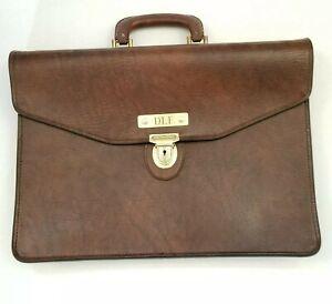 Vintage Pegasus Monogram Leather Attache Briefcase Key included DLF