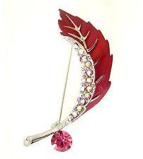 Enamel leaf flower brooch pin made with sparkly Swarovski crystal