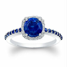 14K White Gold Solid 1.33 Ct Natural Diamond Real Blue Sapphire Wedding Rings