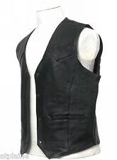 GILET CUIR CLASSIC noir doublé Taille 2XL - Style BIKER HARLEY