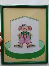 Clown Cross Stitch - handcrafted, perfect for a baby's room!  Never displayed!