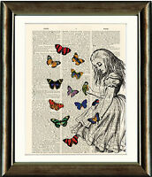 Antique Book page Art Print - Alice in Wonderland