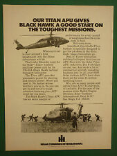 10/1979 PUB SOLAR TURBINES TITAN APU SIKORSKY UH-60A BLACKHAWK ORIGINAL AD
