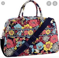 Vera Bradley HAPPY SNAILS Floral Weekender Duffle Tote Travel Bag perfect & NEW!