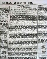 """Historic 1851 1st AMERICA'S CUP Yachting Scooner """"America"""" Victory WIN Newspaper"""