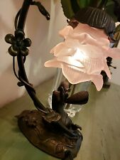 Vintage Andrea by Sadek Bronze Fairy lamp W/ Pink Glass