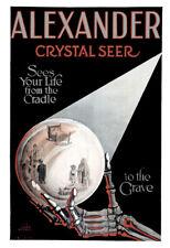 "1910 Magician Alexander, Crystal Seer Vintage Poster Art Print 13"" x 19"" Reprint"